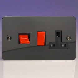 Varilight Ultraflat Iridium Black 45A Cooker Switch with 13A DP Switched Socket and Black Insert