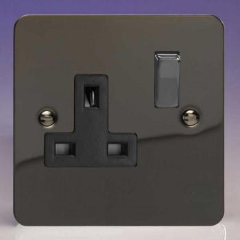 Varilight Ultraflat Iridium Black 1 Gang 13A DP Switched Socket with Black Insert