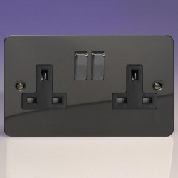 Varilight Ultraflat Iridium Black 2 Gang 13A DP Switched Socket with Black Insert