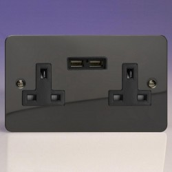 Varilight Ultraflat Iridium Black 2 Gang 13A Unswitched Socket with Dual USB Ports and Black Insert