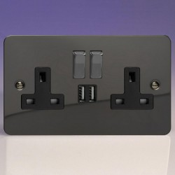 Varilight Ultraflat Iridium Black 2 Gang 13A Switched Socket with Dual USB Ports and Black Insert