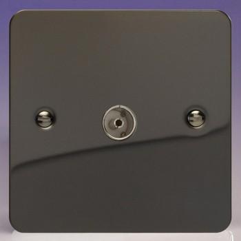 Varilight Ultraflat Iridium Black 1 Gang Co-Axial TV Socket