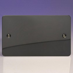 Varilight Ultraflat Iridium Black 2 Gang Blank Plate