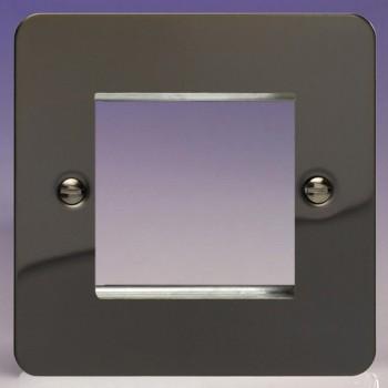 Varilight Ultraflat Iridium Black 1 Gang Twin Aperture DataGrid Faceplate