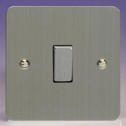Varilight Ultraflat Brushed Steel 1 Gang 10A 2 Way Switch