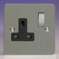 Varilight Ultraflat Brushed Steel 1 Gang 13A DP Switched Socket with Black Insert
