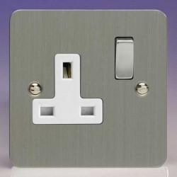 Varilight Ultraflat Brushed Steel 1 Gang 13A DP Switched Socket with White Insert