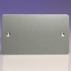 Varilight Ultraflat Brushed Steel 2 Gang Blank Plate