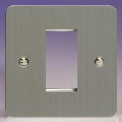 Varilight Ultraflat Brushed Steel 1 Gang Single Aperture DataGrid Faceplate