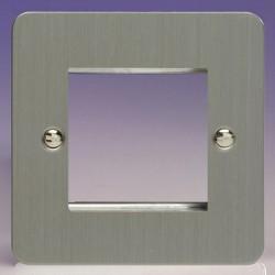Varilight Ultraflat Brushed Steel 1 Gang Twin Aperture DataGrid Faceplate