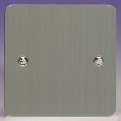 Varilight Ultraflat Brushed Steel 1 Gang Blank Plate