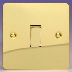 Varilight Ultraflat Polished Brass 1 Gang 10A 2 Way Switch