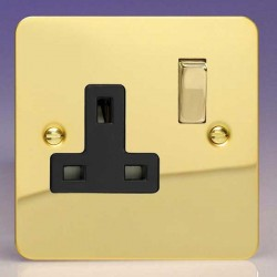 Varilight Ultraflat Polished Brass 1 Gang 13A DP Switched Socket with Black Insert