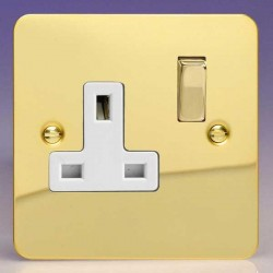 Varilight Ultraflat Polished Brass 1 Gang 13A DP Switched Socket with White Insert
