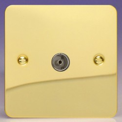 Varilight Ultraflat Polished Brass 1 Gang Co-Axial TV Socket