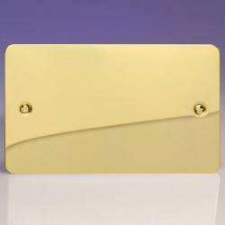 Varilight Ultraflat Polished Brass 2 Gang Blank Plate