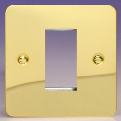 Varilight Ultraflat Polished Brass 1 Gang Single Aperture DataGrid Faceplate