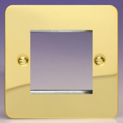 Varilight Ultraflat Polished Brass 1 Gang Twin Aperture DataGrid Faceplate
