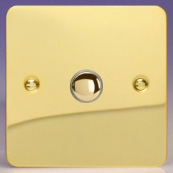 Varilight Ultraflat Polished Brass 1 Gang 6A 2 Way Push-On/Off Impulse Switch