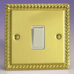 Varilight Classic Georgian Brass 1 Gang 10A 2 Way Switch with White Insert