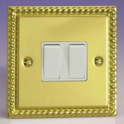 Varilight Classic Georgian Brass 2 Gang 10A 2 Way Switch with White Insert