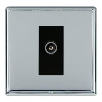 Hamilton Linea-Rondo CFX Bright Chrome/Bright Steel 1 Gang TV (Female) with Black Insert
