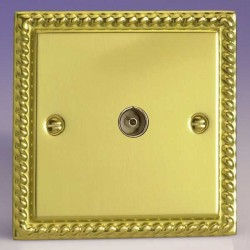 Varilight Classic Georgian Brass 1 Gang Co-Axial TV Socket