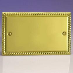 Varilight Classic Georgian Brass 2 Gang Blank Plate