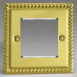Varilight Classic Georgian Brass 1 Gang Twin Aperture DataGrid Faceplate