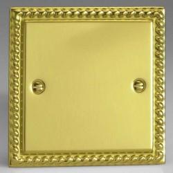 Varilight Classic Georgian Brass 1 Gang Blank Plate