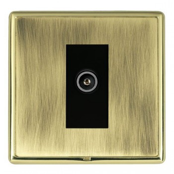 Hamilton Linea-Rondo CFX Polished Brass/Antique Brass 1 Gang TV (Female) with Black Insert