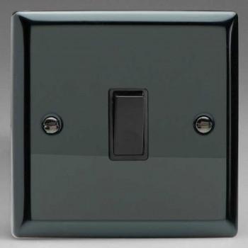 Varilight Classic Iridium Black 1 Gang 10A 2 Way Switch with Black Insert