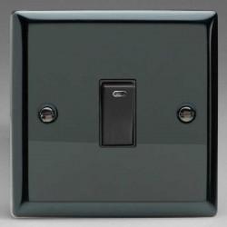 Varilight Classic Iridium Black 1 Gang 20A DP Switch with Neon and Black Insert