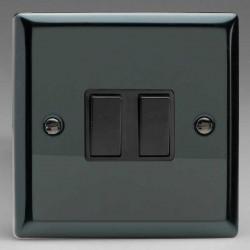 Varilight Classic Iridium Black 2 Gang 10A 2 Way Switch with Black Insert