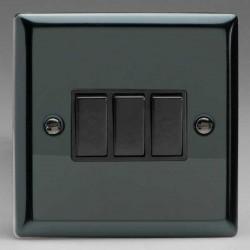 Varilight Classic Iridium Black 3 Gang 10A 2 Way Switch with Black Insert