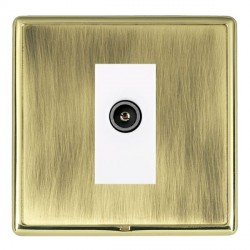 Hamilton Linea-Rondo CFX Polished Brass/Antique Brass 1 Gang TV (Female) with White Insert
