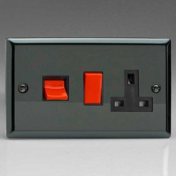Varilight Classic Iridium Black 45A Cooker Switch with 13A DP Switched Socket and Black Insert