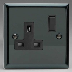 Varilight Classic Iridium Black 1 Gang 13A DP Switched Socket with Black Switch and Insert