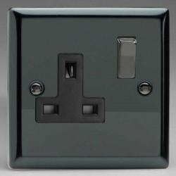 Varilight Classic Iridium Black 1 Gang 13A DP Switched Socket with Black Insert