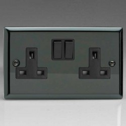 Varilight Classic Iridium Black 2 Gang 13A DP Switched Socket with Black Switch and Insert