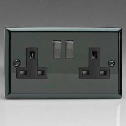 Varilight Classic Iridium Black 2 Gang 13A DP Switched Socket with Black Insert