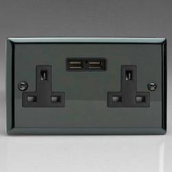 Varilight Classic Iridium Black 2 Gang 13A Unswitched Socket with Dual USB Ports and Black Insert