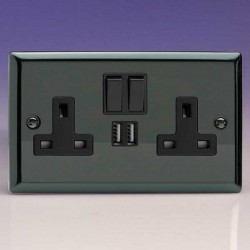 Varilight Classic Iridium Black 2 Gang 13A Switched Socket with Dual USB Ports, Black Switches, and Inser...