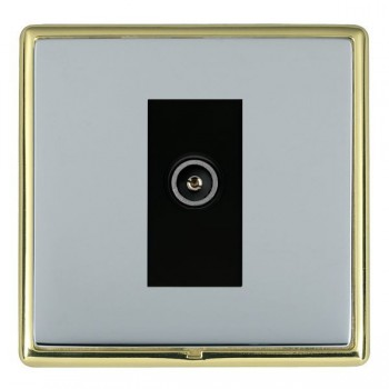 Hamilton Linea-Rondo CFX Polished Brass/Bright Steel 1 Gang TV (Female) with Black Insert