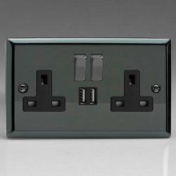Varilight Classic Iridium Black 2 Gang 13A Switched Socket with Dual USB Ports and Black Insert
