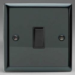 Varilight Classic Iridium Black 1 Gang 10A Intermediate Switch with Black Insert