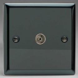 Varilight Classic Iridium Black 1 Gang Co-Axial TV Socket