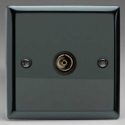 Varilight Classic Iridium Black 1 Gang Isolated Co-Axial TV Socket with Black Insert