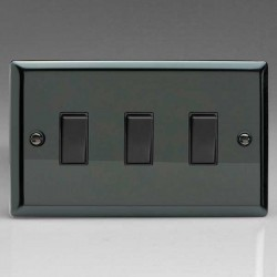 Varilight Classic Iridium Black 3 Gang Twin Plate 10A 2 Way Switch with Black Insert