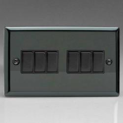 Varilight Classic Iridium Black 6 Gang 10A 2 Way Switch with Black Insert